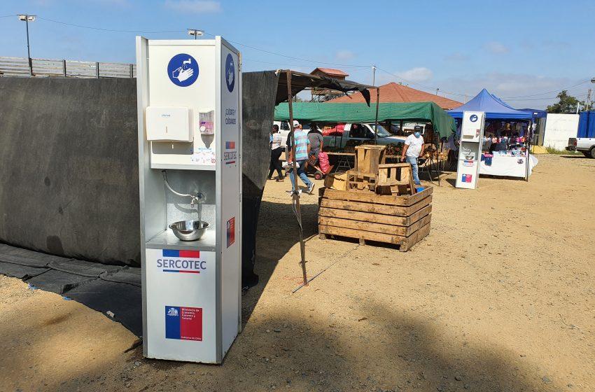 Kits sanitarios de SERCOTEC, ya se encuentran disponibles en distintos comercios y ferias de Las Cabras.